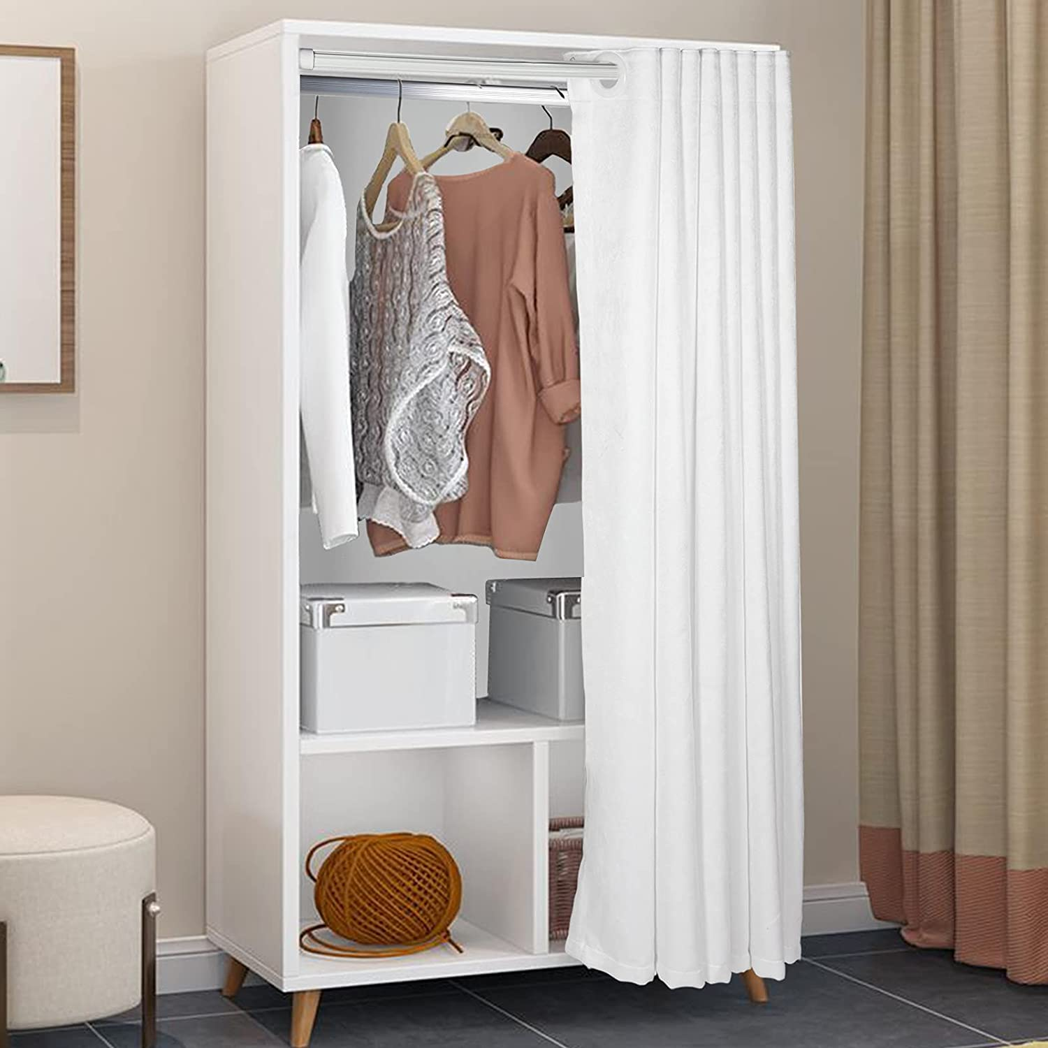 Wardrobe Closet discount with Clothes OFFicial store Rail Clot - Wooden Cabinet