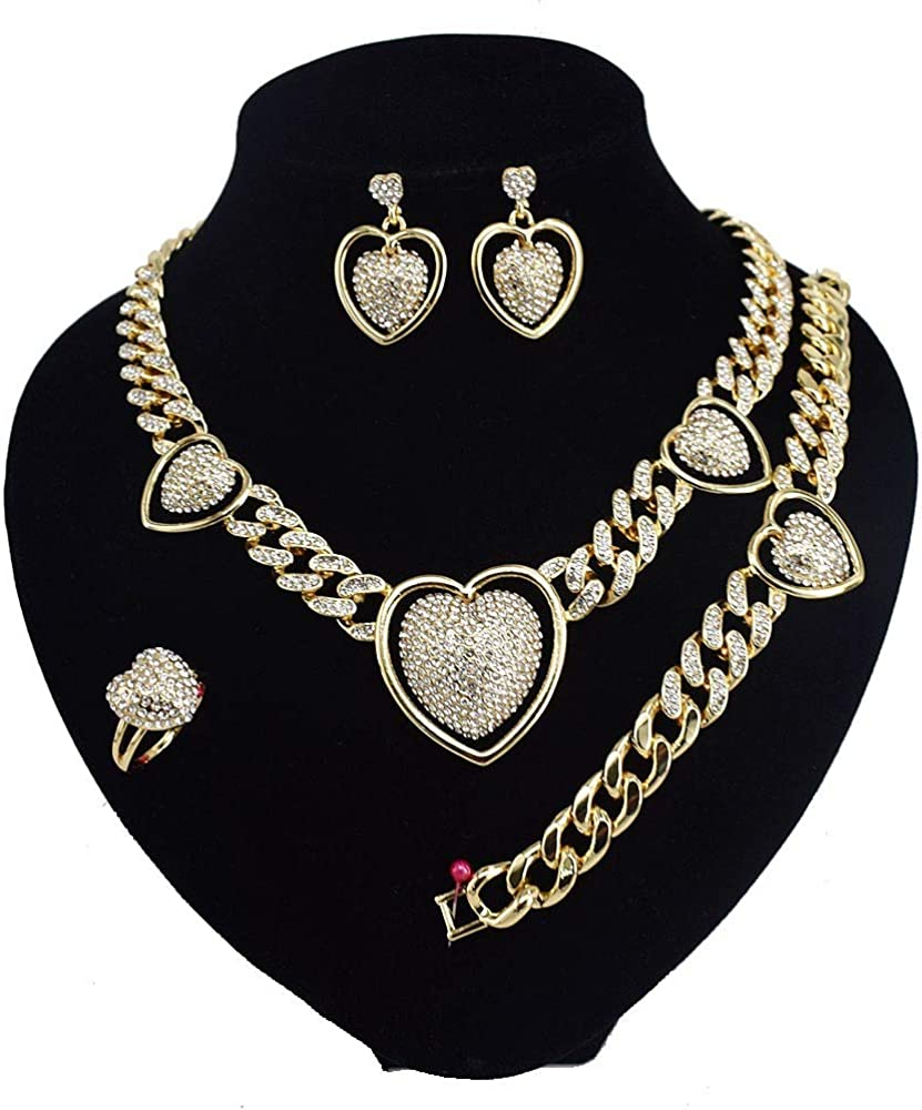 Women's Girls Hugs & Kisses XOXO Miami Cuban Iced Cut 4 Pieces Necklace Set Heart Charm Includes Necklace Bracelet Earrings Ring Real Gold Layered