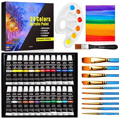 Acrylic Paint Set, Emooqi 24(12ml/0.4oz) Rich Pigment Colors, with 11 Art Brushes, Paint Palette & Painting Canvas - Quick Dry Paints for Hobby Painters & Kids, Canvas Wood Rock Ceramic Paint