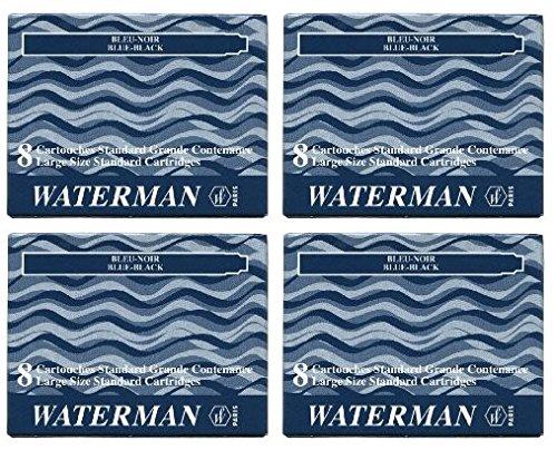 Waterman S0110910 - 4 Etuis mit 8 Großraum-Tintenpatronen blau, Tinte löschbar (4x 8er Päckchen blauschwarz)