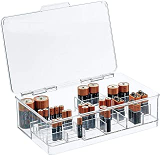 mDesign Stackable Divided Battery Storage Organizer Box Bin with Hinged Lid for AA, AAA, C, D, 9 Volt Sizes - Great Storag...