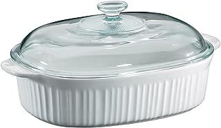 CorningWare 6002278 French White 4 Quart Oval Casserole W/Glass Cover