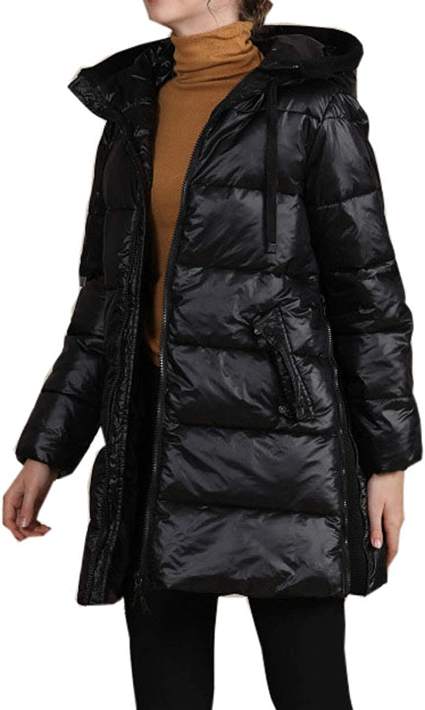 PAODIKUAI Women Winter Warm Mid Long Quilted Puffer Jacket Coat with Removable Hood