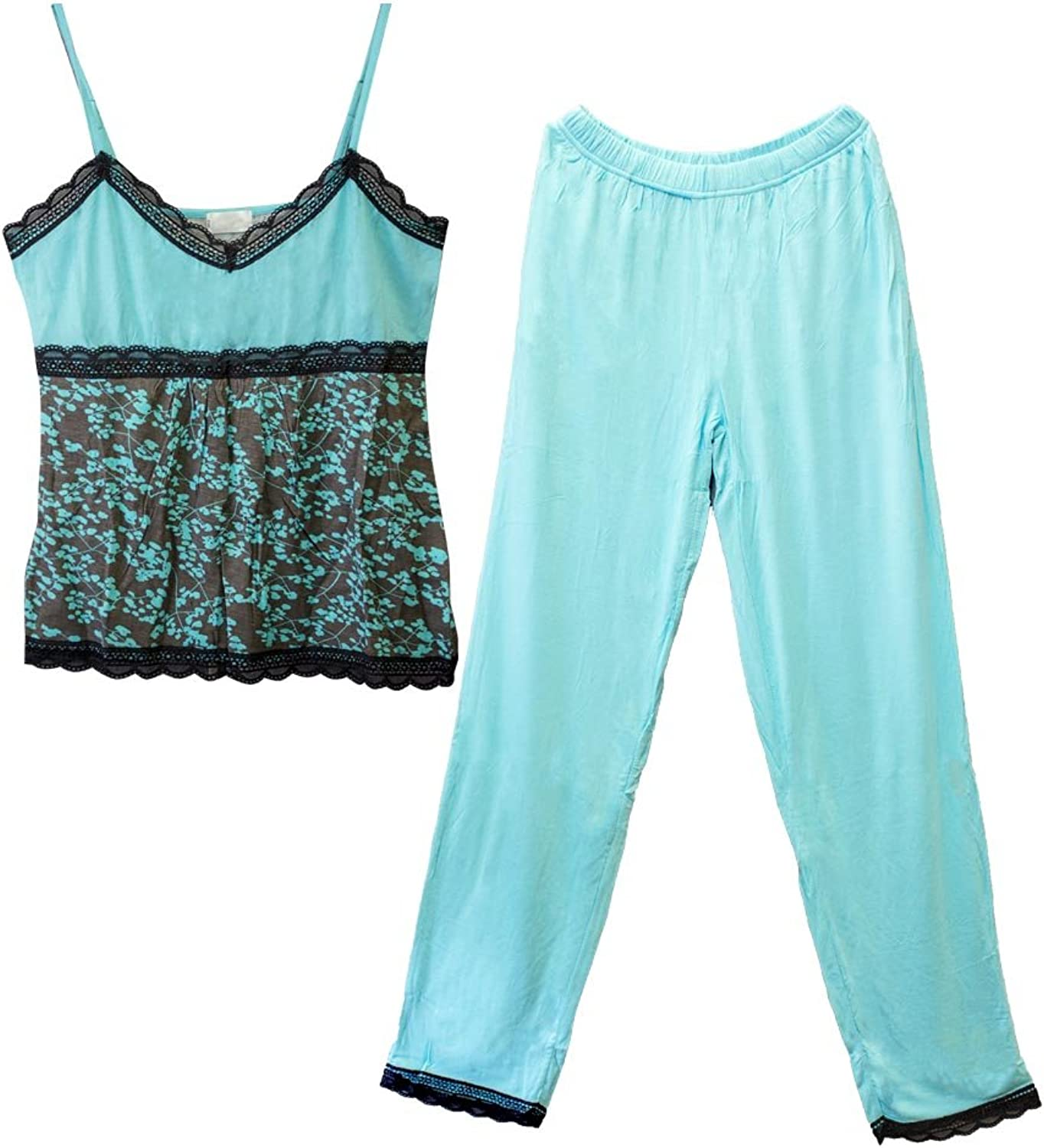 Girl Style Womens Pajama Set Knit Pajama Pants and Camisole with Lace Trim L1083CP