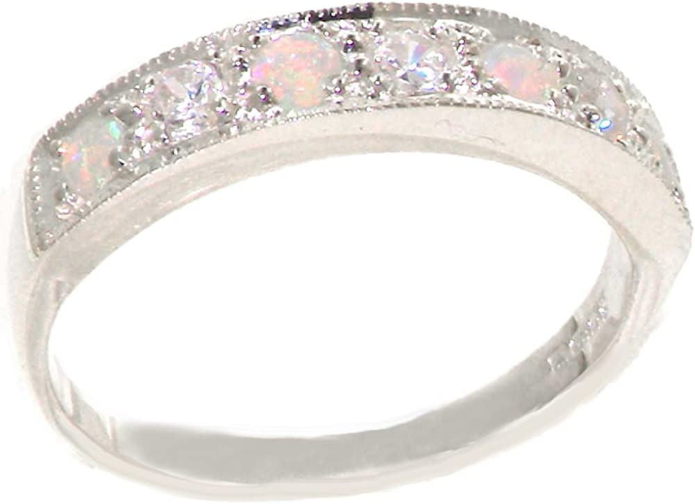 925 Sterling Silver Natural Bargain sale Diamond and Opal Womens NEW before selling Ring Band 0