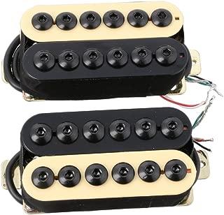 LYWS 2PCS Ceramic Magnet Invader Style Guitar Humbucker Pickup Bridge & Neck (Black+Ivory)