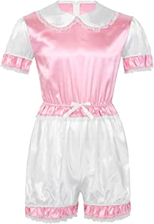 Doomiva Men's Sissy Silky Satin Short Puff Sleeves Trim Lace Romper Jumpsuit Adult Baby Crossdress Costume
