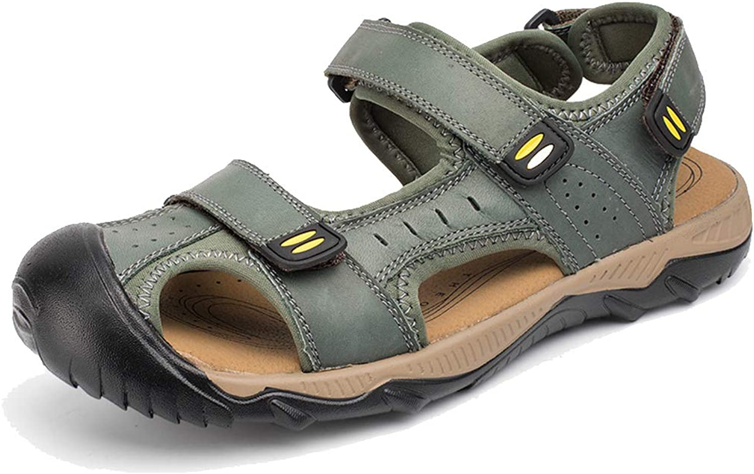 Mens Leather Sandals Summer Trekking Adjustable Lightweight Beach shoes Casual Sandals Outdoor Non-Slip Hiking shoes