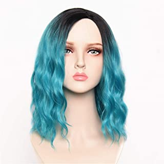 Teal Blue Wig 14 Inches Women`s Short Curly Wavy Ombre Blue Wigs with Black Roots Bob Wig for Girls Synthetic Fiber Hallow...