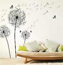 WandSticker4U® - Muursticker Pustbloemen II zwart I muurschilderingen: 135 x 132 cm I wandsticker bloemen paardenbloem vli...