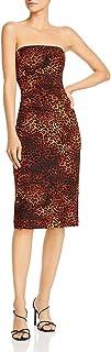 BLACK HALO Womens Brown Leopard Print Sleeveless Strapless Below The Knee Body Con Evening Dress AU Size:10