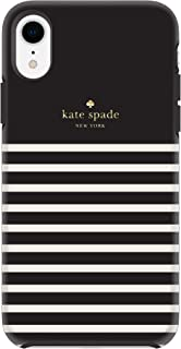 kate spade new york Black/Cream Feeder Stripe Case for iPhone XR - Soft Touch Protective Hardshell