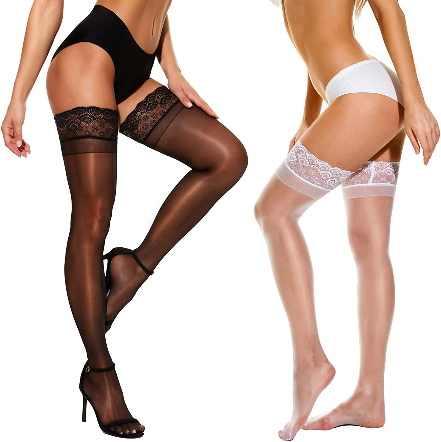 Jowimney Thigh HighStockings,Women's Sheerwith Silicone Lace Top,Shiny Stay Up lingerie Leggingsfor Women
