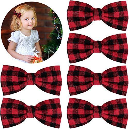 6 Pieces Christmas Hair Bows Buffalo Plaid Hair Accessories Buffalo Plaid Checkered Ribbon Hair Bows Clips for Women Girls Hair Accessories (Red and Black Plaid)