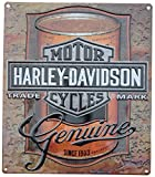 Harley-Davidson Tin Sign, Oil Can Bar & Shield Rustic Sign, Brown 2010931