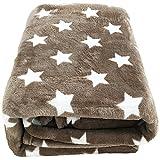 Mojawo Wohndecke/Flanell Decke Beige 180x220cm Sternenmotiv Sofadecke Wohndecke Tagesdecke