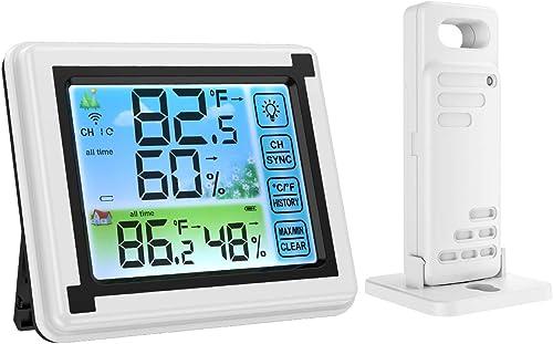 Brifit Thermomètre Hygromètre Intérieur Extérieur, Humidimètre Numérique de Température avec Écran Tactile LCD, Monit...