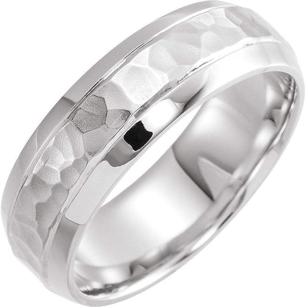 Hammer Finish Wedding Band Grooved Beveled Sterli 925 Edge Solid Houston Mall Fashion