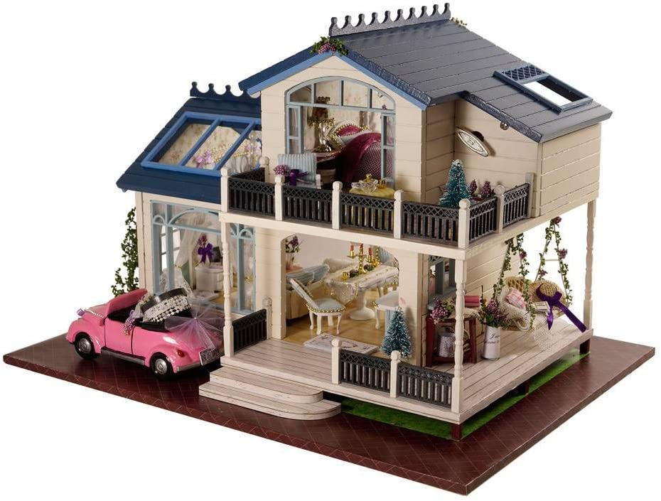Rylai Architecture Model Building Kits with Furniture LED Music Box Miniature Wooden Dollhouse Provence Lavender Series 3D Puzzle Challenge