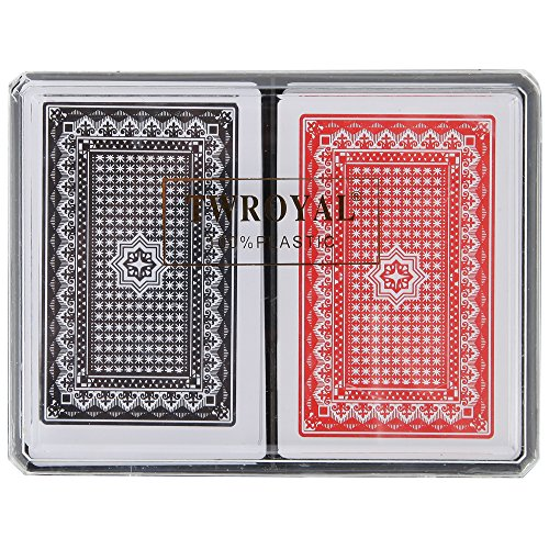 Home-X Plastic Playing Cards, Waterproof Cards. Set of 2 Decks (1 Red and 1 Black)