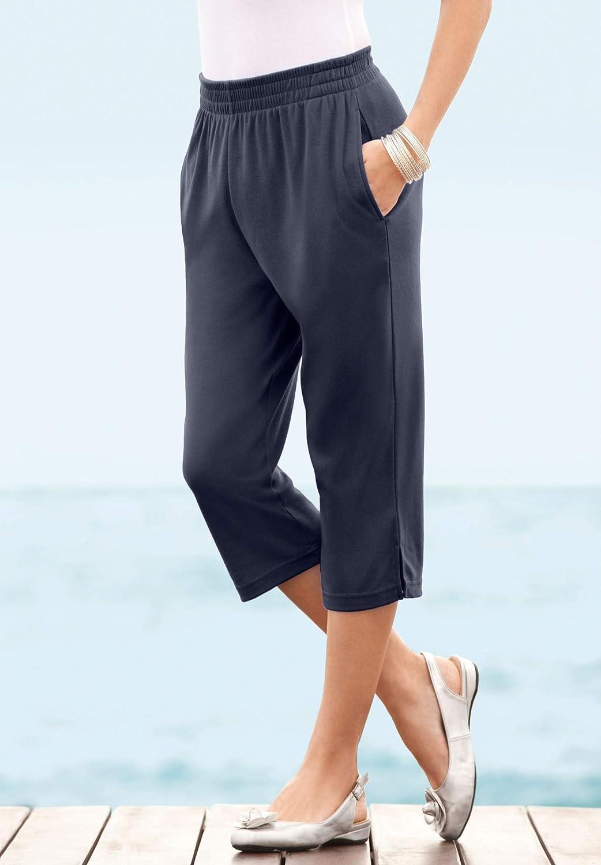 Roamans Women's Plus Size Soft Knit Capri Pant Pull On Elastic Waist