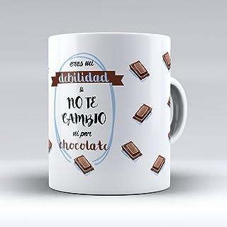 APRIL Taza cerámica Desayuno Regalo Original San Valentín Pareja Novio Novia Eres mi Debilidad y no te Cambio ni por Chocolate