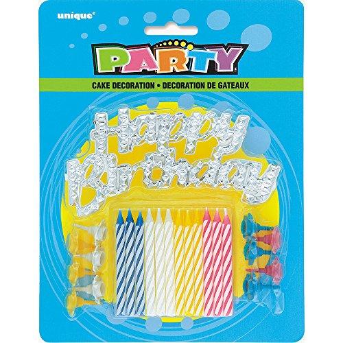 Unique Party - 49001 - Lot de 25 Bougies d'Anniversaire à Rayures avec Bougeoirs et Décoration à Gâteau - Happy Birthday