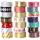 21 Rolls Foil Washi Tape - Gold & Colored Metallic Washi Tape - 15mm Wide DIY Craft Masking Tape by...