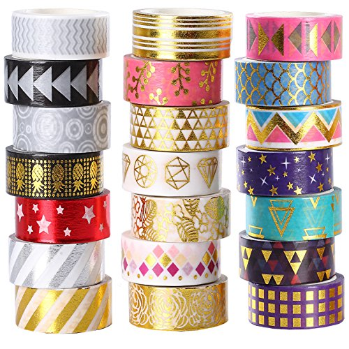 100 Rolls Washi Tape Set,Foil Gold Skinny Decorative Masking Washi Tapes,1-5MM Wide DIY Masking Tape,Some Tapes Have a Repeating Pattern