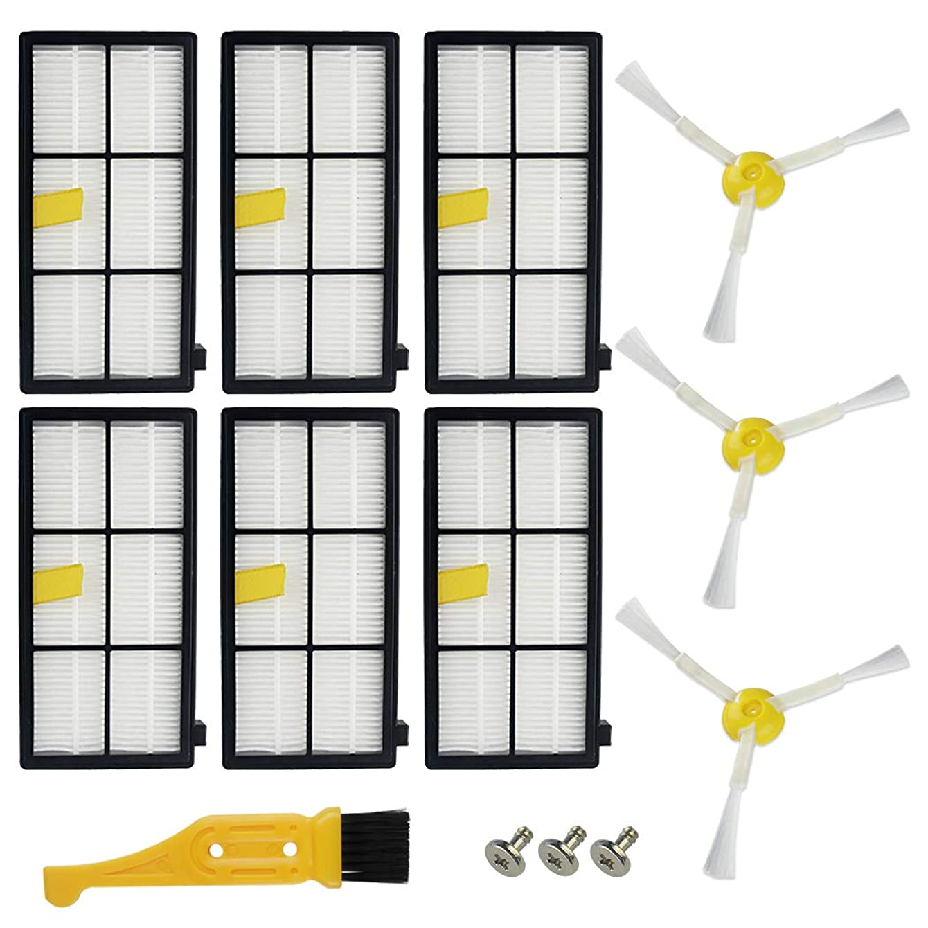 Ugardo Replacement Parts for iRobot Roomba 800 900 Series 800 805 850 860 861 866 870 871 880 890 960 961 964 980 981 985 Vacuum Cleaner Accessories 6 Filters & 3 Side Brushes