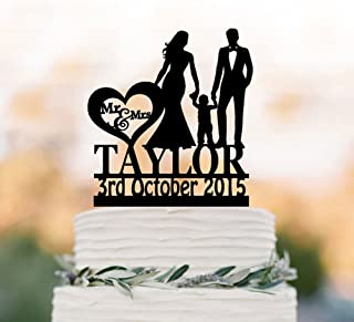 A-Parts 1pcs 20CM Personalized Wedding Cake Topper with Boy, Bride and Groom Custom Wedding Cake Topper with Your Last Name for Wedding or Special Events