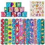 60 PCS Easter Slap Bracelets for Kids, Slap Bands,Snap Bracelets,Easter Party Favors for Kids/Adults Easter Basket Stuffers Egg Fillers Gifts with 4 Sheets Easter Sticker.