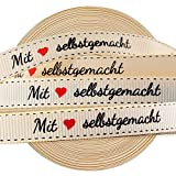 VINFUTUR 1 Rolle 45m×1cm Geschenkband Mit Liebe Selbstgemacht Dekoband Vintage Stoffbandrolle für...