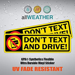 allWEATHER (Pack of 2 pcs) Don't Text and Drive - Safety Bumper Trunk Vinyl Decal Car Body Sticker Vehicle Label [7.00 x 2.00 inch]