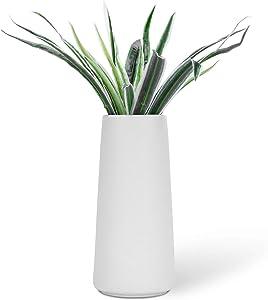 "VanEnjoy 7"" High Desktop Minimalist White Ceramic Vases Home Office Decoration Frosting Finish Vase"