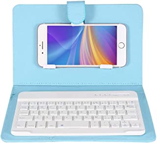 fosa Wireless Bluetooth Keyboard with Portfolio Flip Leather Case Cover Detachable Keyboard for 4.5''-6.8'' iOS, Android and Windows Smart Phones(SkyBlue)
