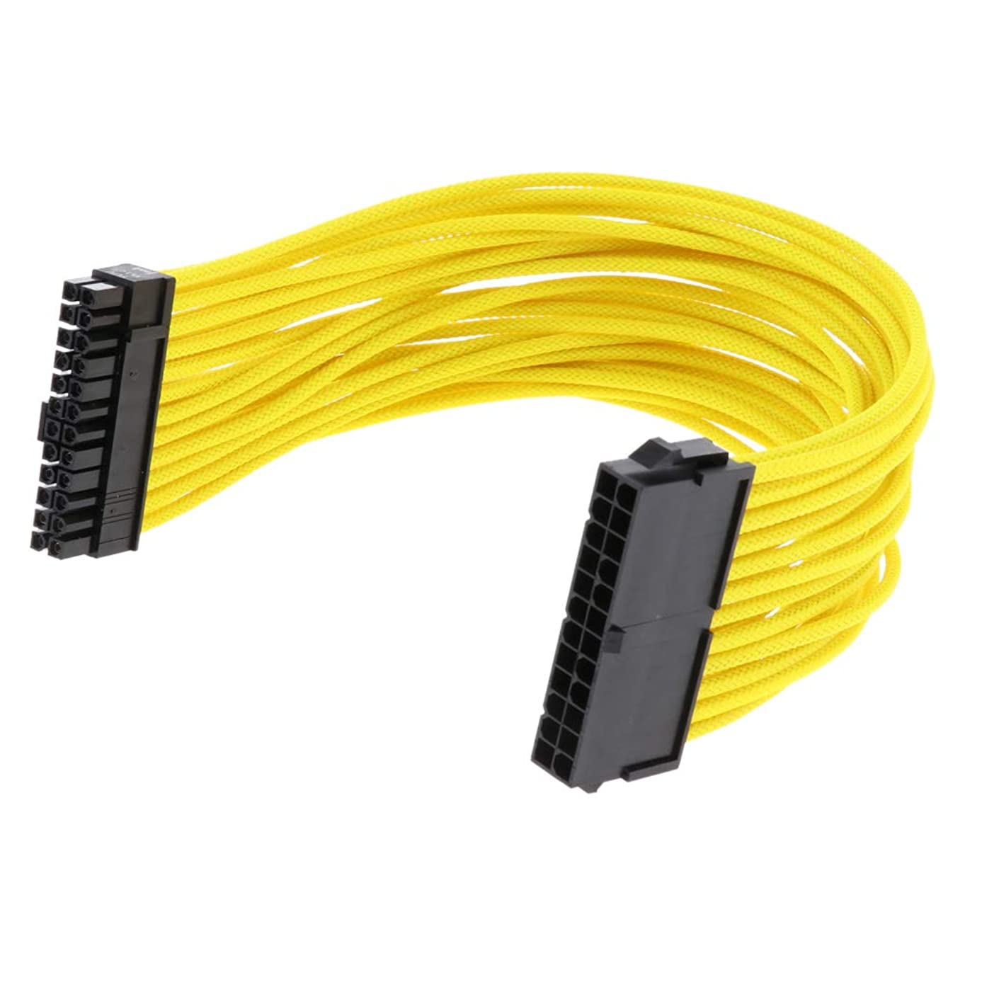 Almencla ATX 24-Pin Male to Female PSU PC Motherboard Power Supply Extension Cable Cord 30cm Color Yellow