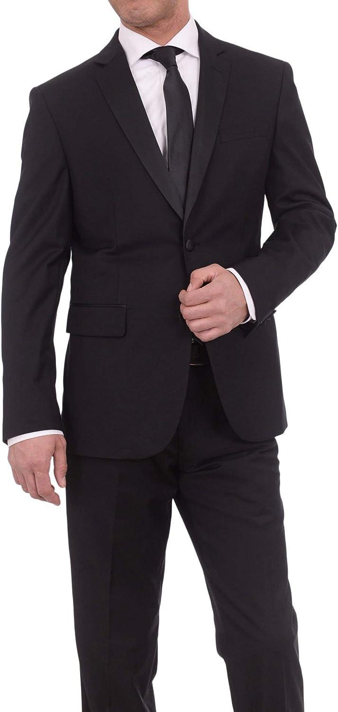 Braveman Slim Fit Solid Black Two Button Tuxedo Suit with Satin Lapel
