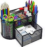 Pipishell Organizador de escritorio de malla para suministros de oficina multifuncional con 8 compartimentos y 1 cajón para oficina, hogar, escuela, aula