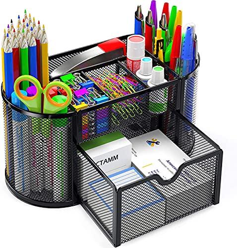 Pipishell Schreibtisch Organizer, Mesh Metall Büro-Organizer mit Schublade und Stifthalter, 9 Sortierfächer für Stifte, Hefter, Ordnerklammern, Haftnotizen, Platzsparendes Desk Organizer