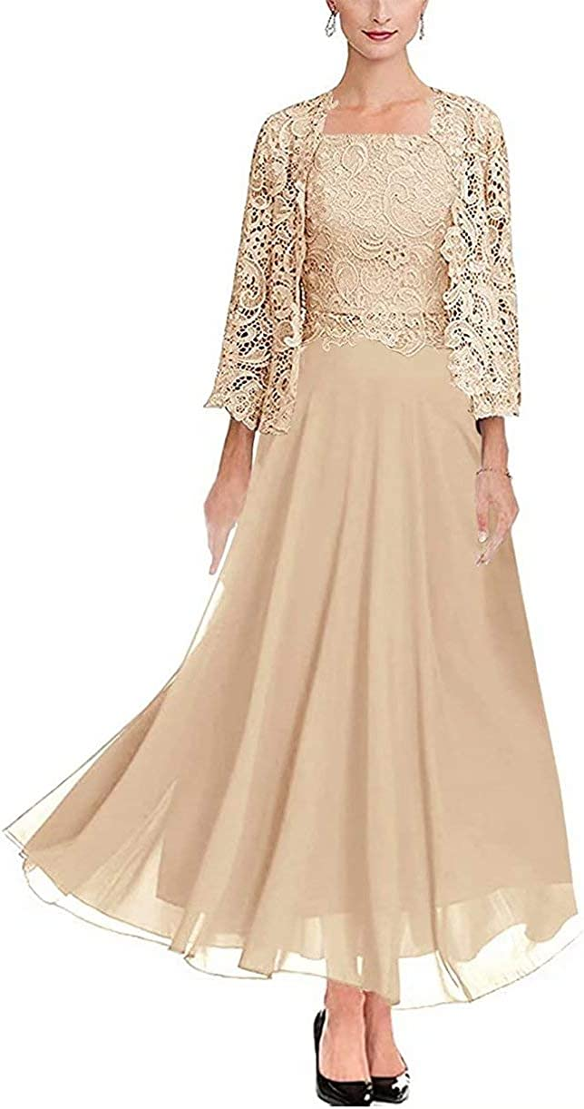 Women's Lace Beaded Mother of The Bride Groom Dresses 3/4 Sleeve Tea Length Formal Evening Gowns