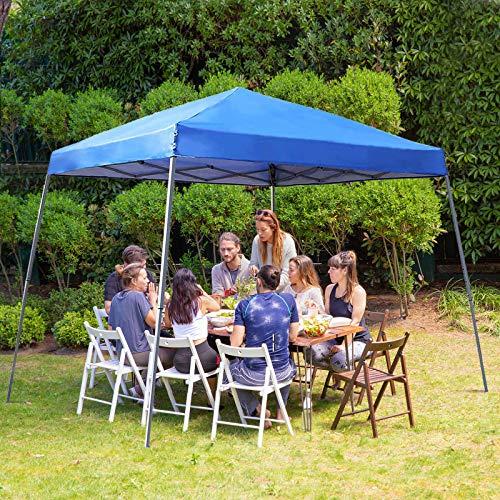 PHI VILLA 12'x12' Slant Leg UV Block Sun Shade Canopy with Hardware Kits, Shade for Patio Outdoor Garden Events, Blue