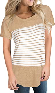Aokosor Women's Short and Long Sleeve T Shirts Color Block Striped Tops Blouses