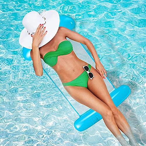 Miotlsy Vattenhängsmatta, luftmadrass pool uppblåsbar hängmatta, vattenhängmatta 4-i-1 loungefåtölj pool lounge, vattenhängmatta sängsoffa för vuxna och barn