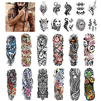 Aresvns Temporary Tattoos for men and women 22 Sheets ,Sleeve Tattoos Waterproof and Long Lasting Non-toxic Full Arm Half Arm Temporary Tattoos