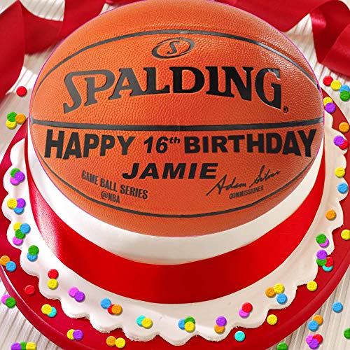 Kuchendekoration mit Basketball-Motiv, personalisierbar, 19 cm, essbarer Zuckerguss