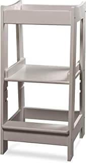 comprar comparacion Torre de Aprendizaje Montessori para niños con altura ajustable y barra de seguridad (madera maciza) blanco blanco