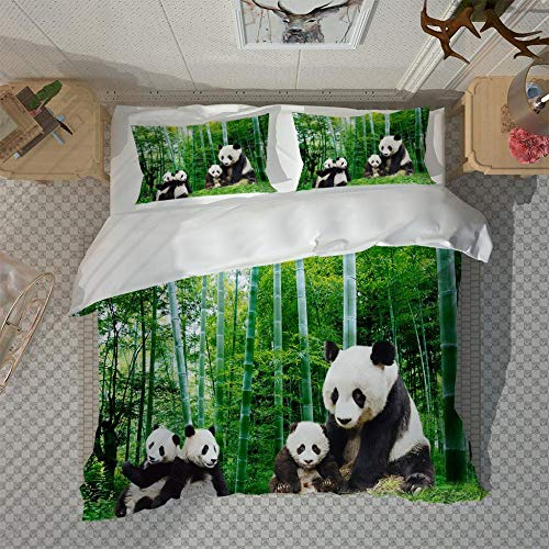 RYQRP Single Duvet Cover Set Panda With Bamboo Leaves Quilt Bedding Set 3pcs with Zipper Closure in Polyester, 1 Printed Quilt Cover 140x200, 2 Pillowcases for Children Kids Teens Adults