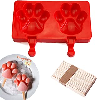DiDaDi Silicone ICE POP Mold, 2 Cavities Cute ICE CAREM Bar Mould,Popsicle Molds DIY ICE Cream Maker,Silicone Jelly Chocolate Candy Soap Molds 20 Wooden Sticks - Paw