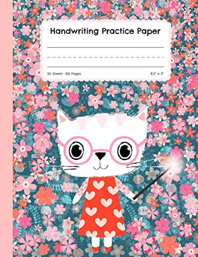 Handwriting Practice Paper: Blank Lined Paper Notebook, Cute Cat Large Composition Book for Kids from Kindergarten to 3rd Grade, 8,5x11 inches 50 Sheets/100 Pages, Dotted Mid Line Journal